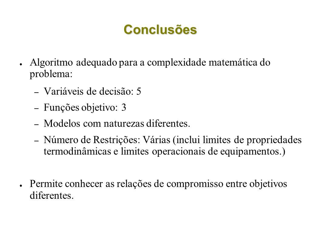 Conclusões Algoritmo adequado para a complexidade matemática do problema: – Variáveis de decisão: 5 – Funções objetivo: 3 – Modelos com naturezas dife