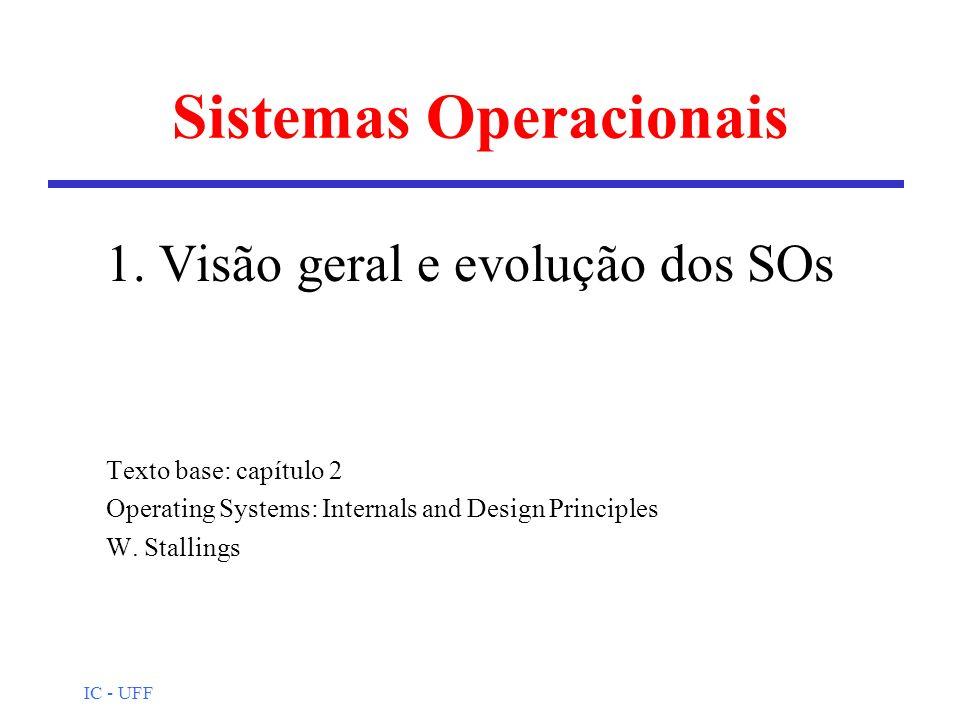 IC - UFF Sistemas Operacionais 1. Visão geral e evolução dos SOs Texto base: capítulo 2 Operating Systems: Internals and Design Principles W. Stalling