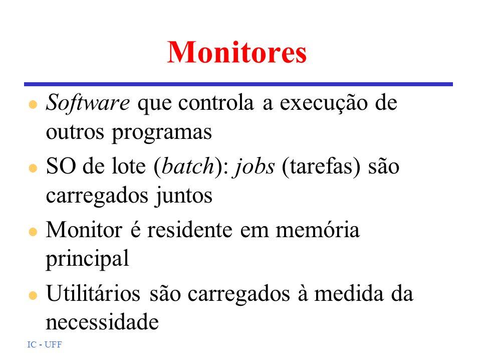 IC - UFF Monitores l Software que controla a execução de outros programas l SO de lote (batch): jobs (tarefas) são carregados juntos l Monitor é resid