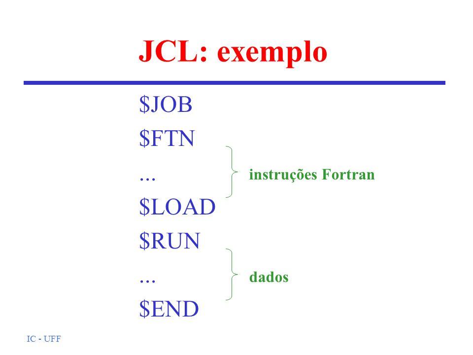 IC - UFF JCL: exemplo $JOB $FTN... $LOAD $RUN... $END instruções Fortran dados