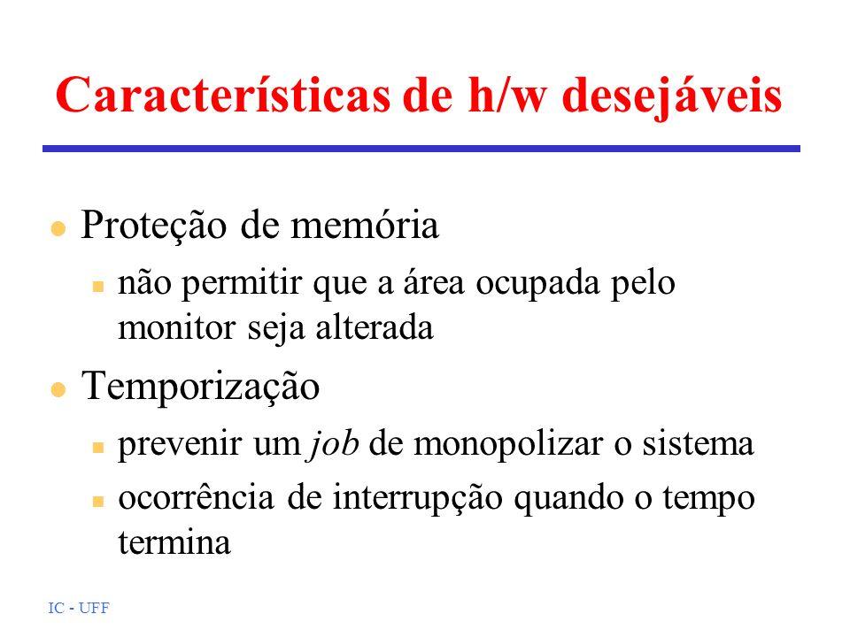 IC - UFF Características de h/w desejáveis l Proteção de memória n não permitir que a área ocupada pelo monitor seja alterada l Temporização n preveni