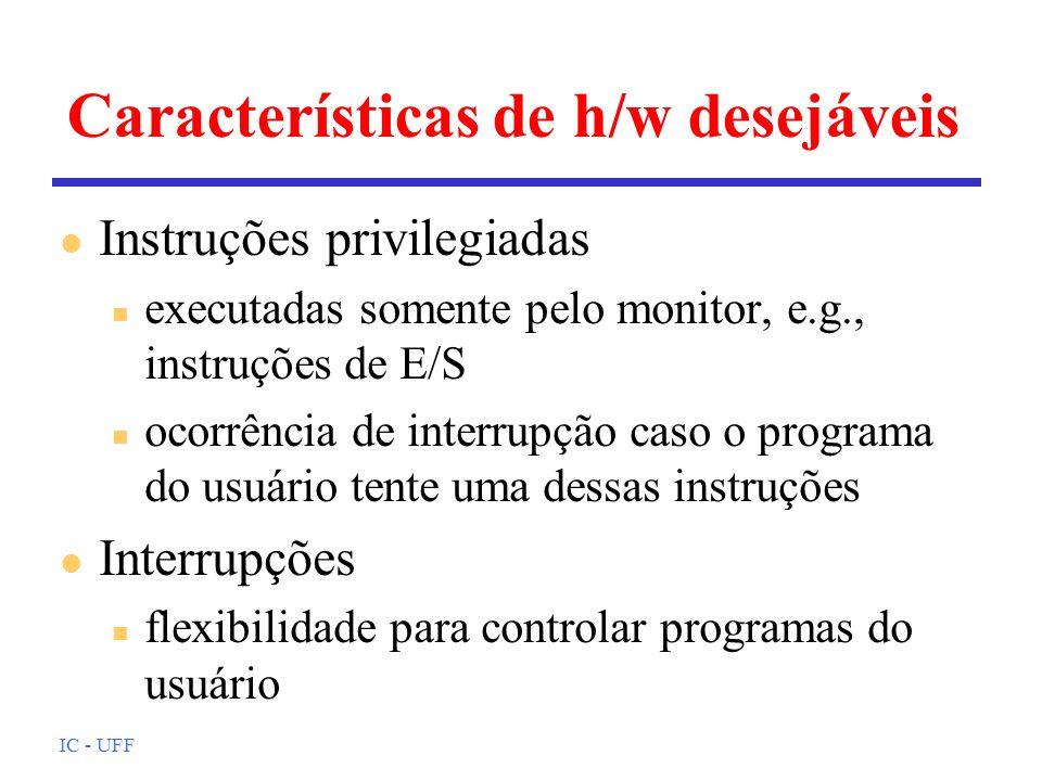 IC - UFF Características de h/w desejáveis l Instruções privilegiadas n executadas somente pelo monitor, e.g., instruções de E/S n ocorrência de inter