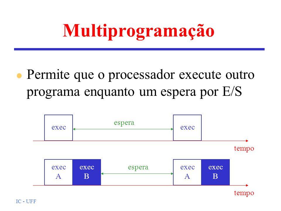 IC - UFF Multiprogramação l Permite que o processador execute outro programa enquanto um espera por E/S tempo espera exec tempo esperaexec A exec A ex