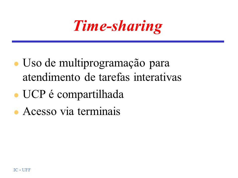 IC - UFF Time-sharing l Uso de multiprogramação para atendimento de tarefas interativas l UCP é compartilhada l Acesso via terminais