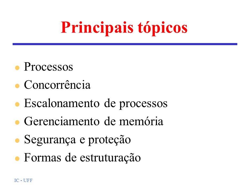 IC - UFF Principais tópicos l Processos l Concorrência l Escalonamento de processos l Gerenciamento de memória l Segurança e proteção l Formas de estr
