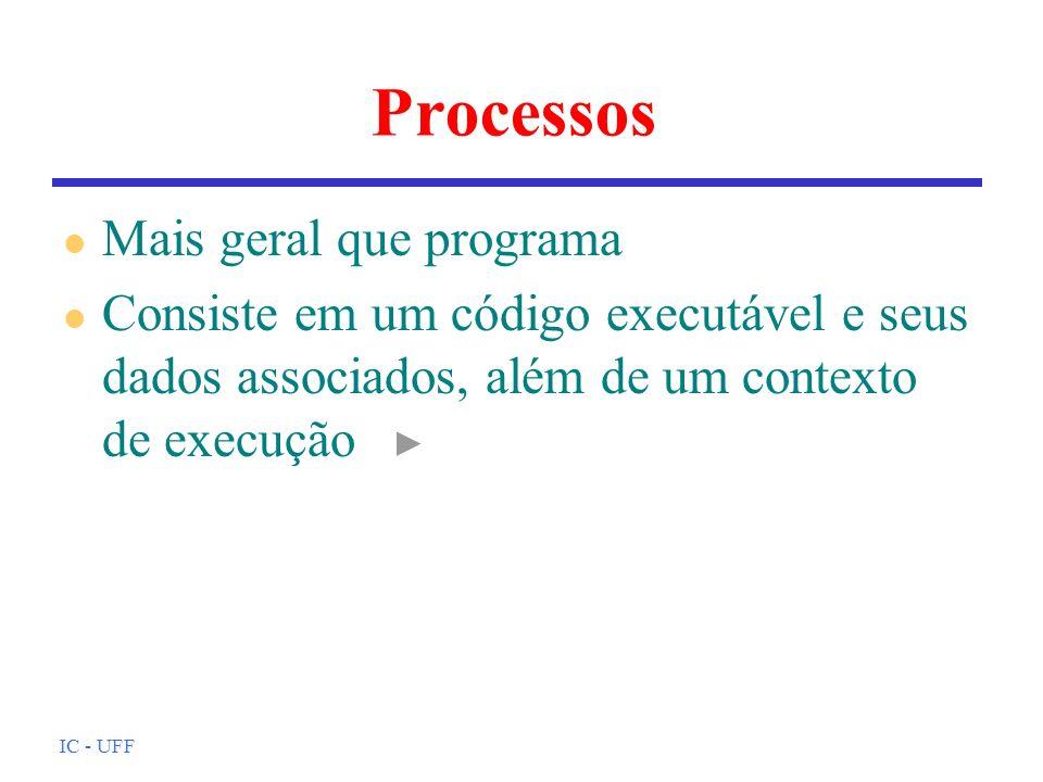 IC - UFF Processos l Mais geral que programa l Consiste em um código executável e seus dados associados, além de um contexto de execução