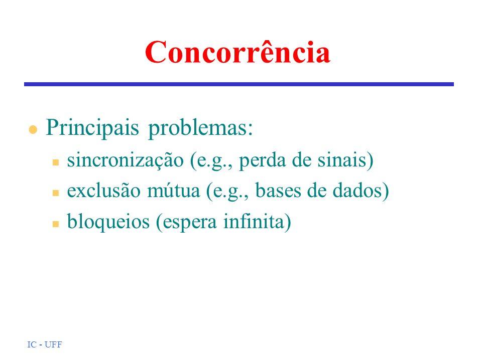 IC - UFF Concorrência l Principais problemas: n sincronização (e.g., perda de sinais) n exclusão mútua (e.g., bases de dados) n bloqueios (espera infi