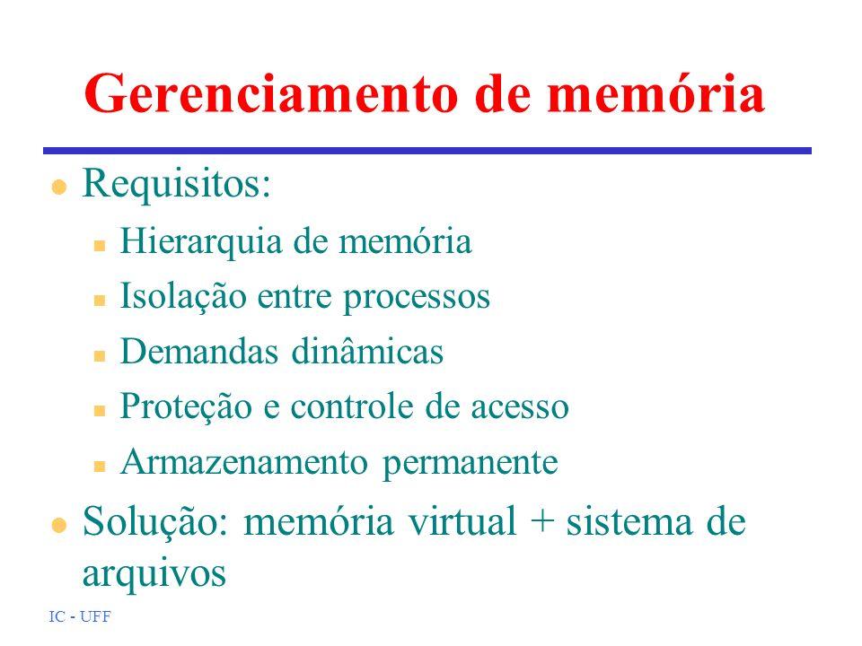 IC - UFF Gerenciamento de memória l Requisitos: n Hierarquia de memória n Isolação entre processos n Demandas dinâmicas n Proteção e controle de acess