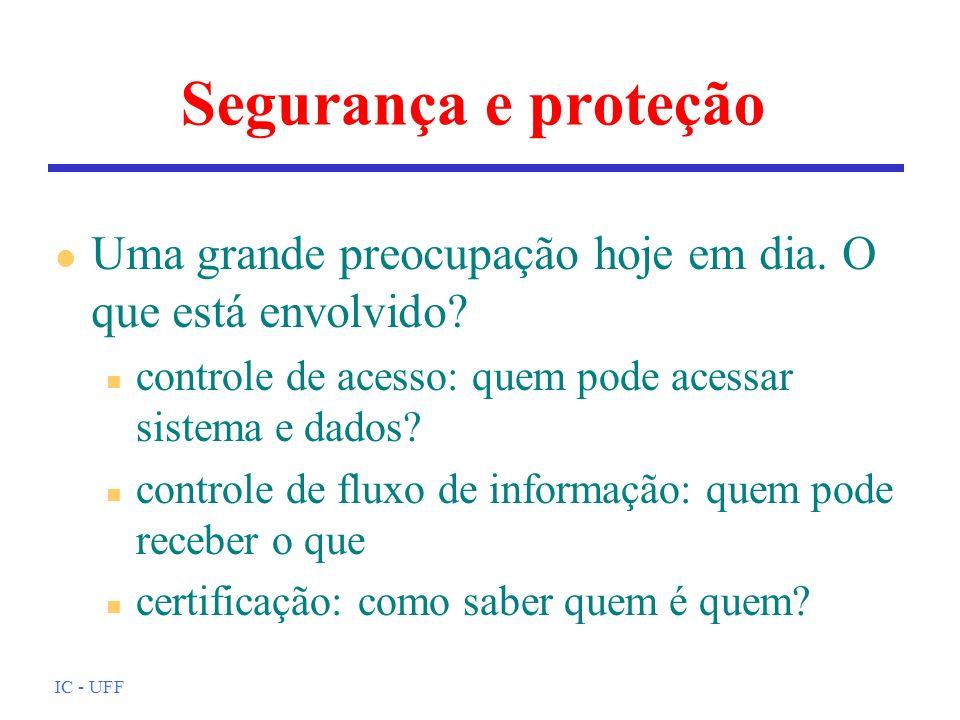IC - UFF Segurança e proteção l Uma grande preocupação hoje em dia. O que está envolvido? n controle de acesso: quem pode acessar sistema e dados? n c