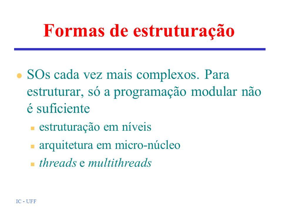 IC - UFF Formas de estruturação l SOs cada vez mais complexos. Para estruturar, só a programação modular não é suficiente n estruturação em níveis n a