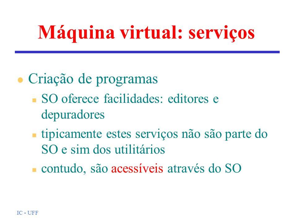 IC - UFF Máquina virtual: serviços l Criação de programas n SO oferece facilidades: editores e depuradores n tipicamente estes serviços não são parte