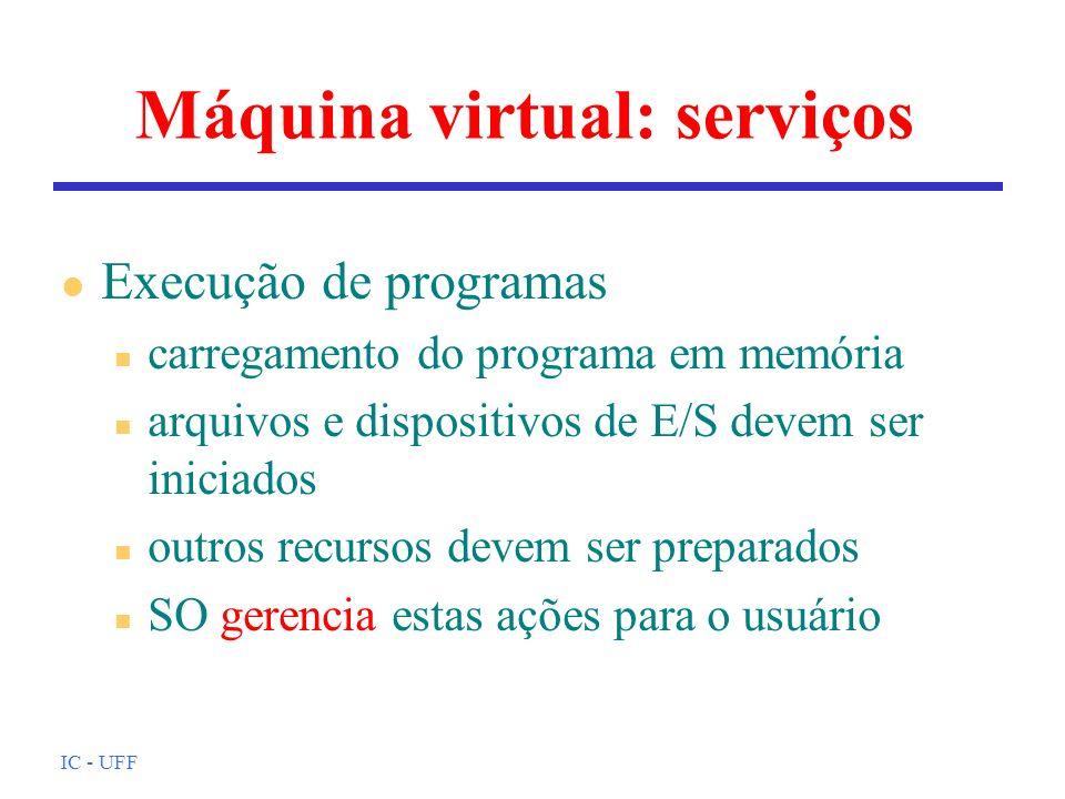 IC - UFF Máquina virtual: serviços l Execução de programas n carregamento do programa em memória n arquivos e dispositivos de E/S devem ser iniciados