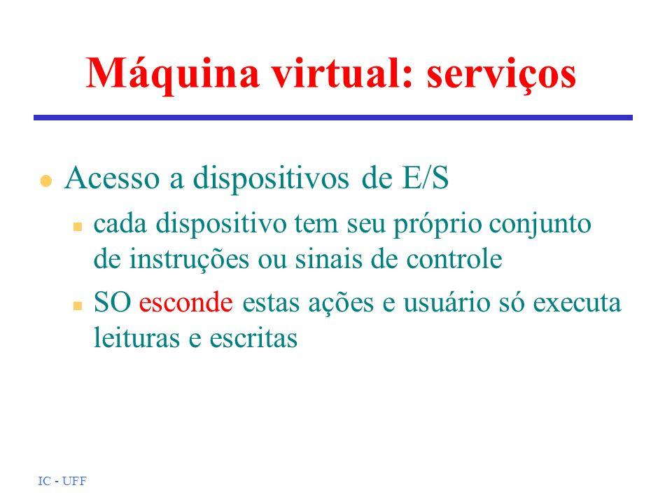 IC - UFF Máquina virtual: serviços l Acesso a dispositivos de E/S n cada dispositivo tem seu próprio conjunto de instruções ou sinais de controle n SO