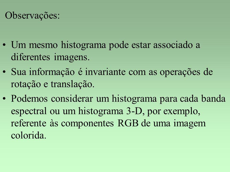 Observações: Um mesmo histograma pode estar associado a diferentes imagens. Sua informação é invariante com as operações de rotação e translação. Pode