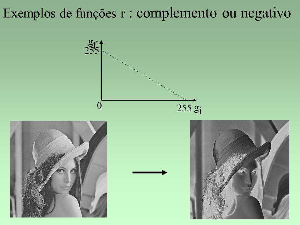 Exemplos de funções r : complemento ou negativo gigi gfgf 0 255