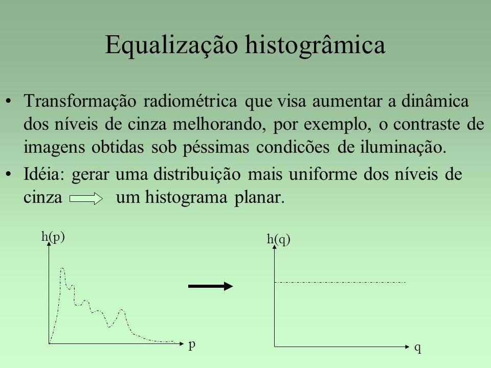 Equalização histogrâmica Transformação radiométrica que visa aumentar a dinâmica dos níveis de cinza melhorando, por exemplo, o contraste de imagens o