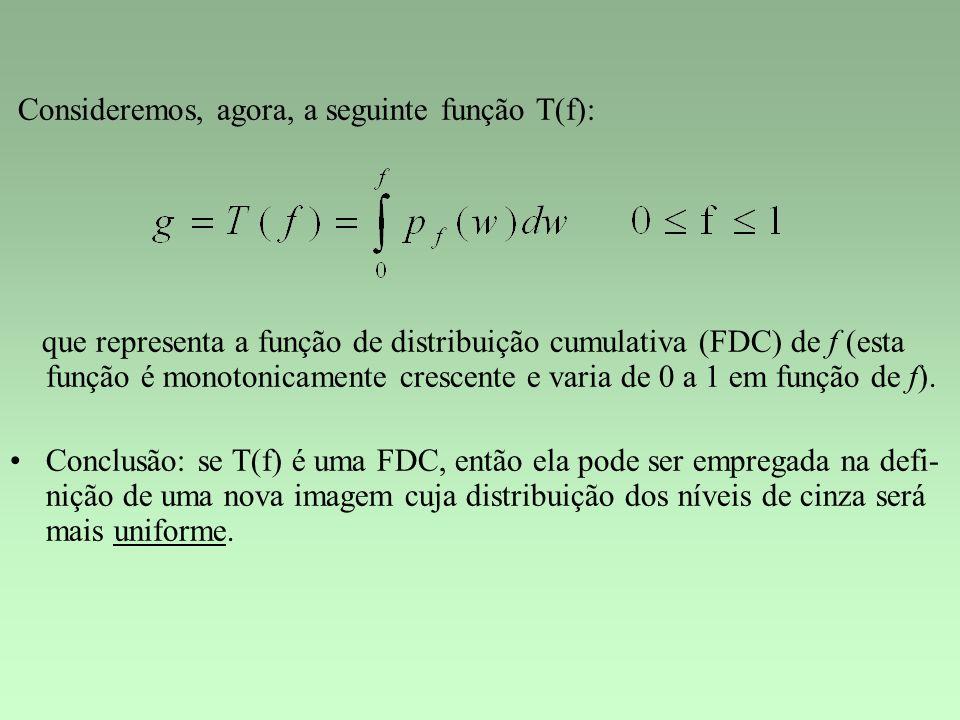 Consideremos, agora, a seguinte função T(f): que representa a função de distribuição cumulativa (FDC) de f (esta função é monotonicamente crescente e