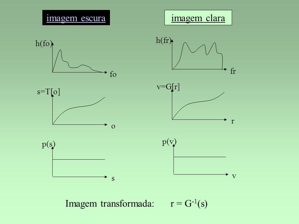 h(fo) fo h(fr) fr s=T[o] o v=G[r] r p(s) s p(v) v Imagem transformada: r = G -1 (s) imagem claraimagem escura