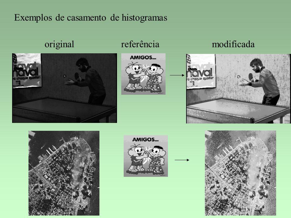 Exemplos de casamento de histogramas originalreferênciamodificada