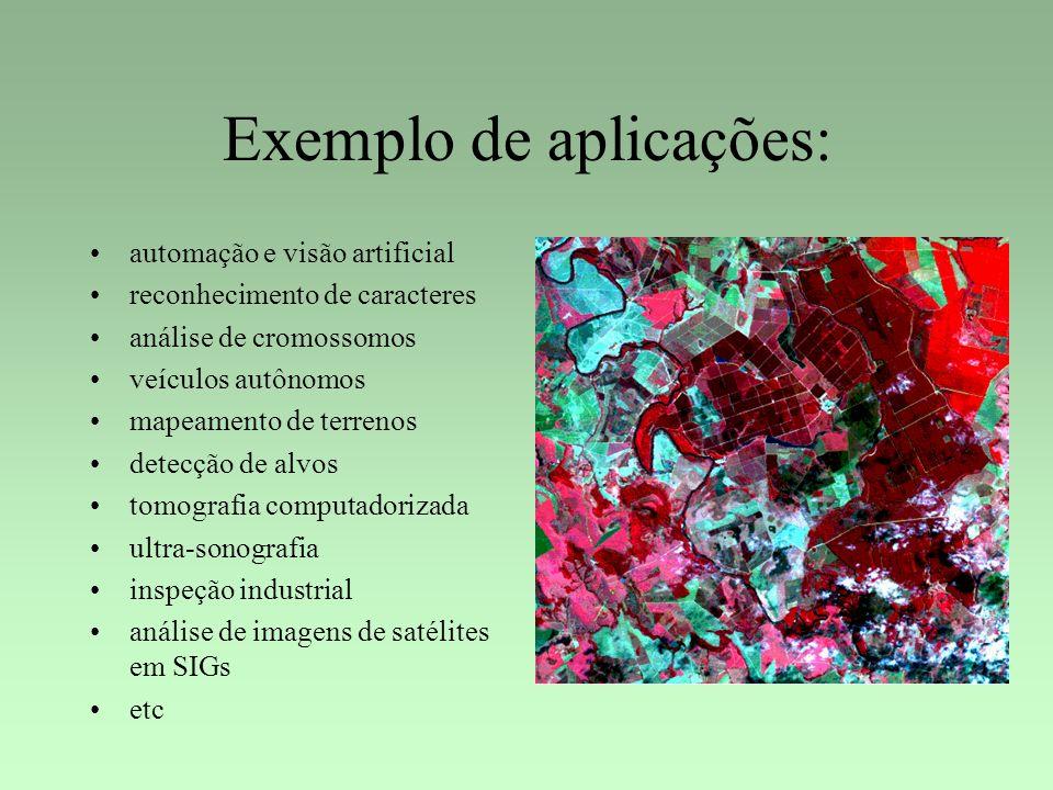 Exemplo de aplicações: automação e visão artificial reconhecimento de caracteres análise de cromossomos veículos autônomos mapeamento de terrenos dete
