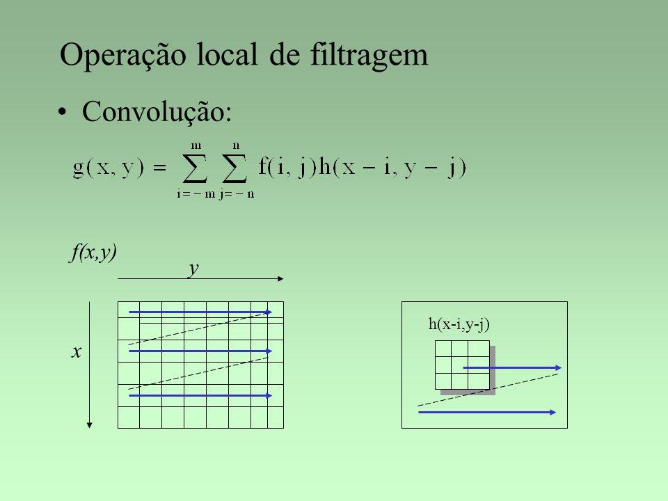 Operação local de filtragem Convolução: f(x,y) x y h(x-i,y-j)