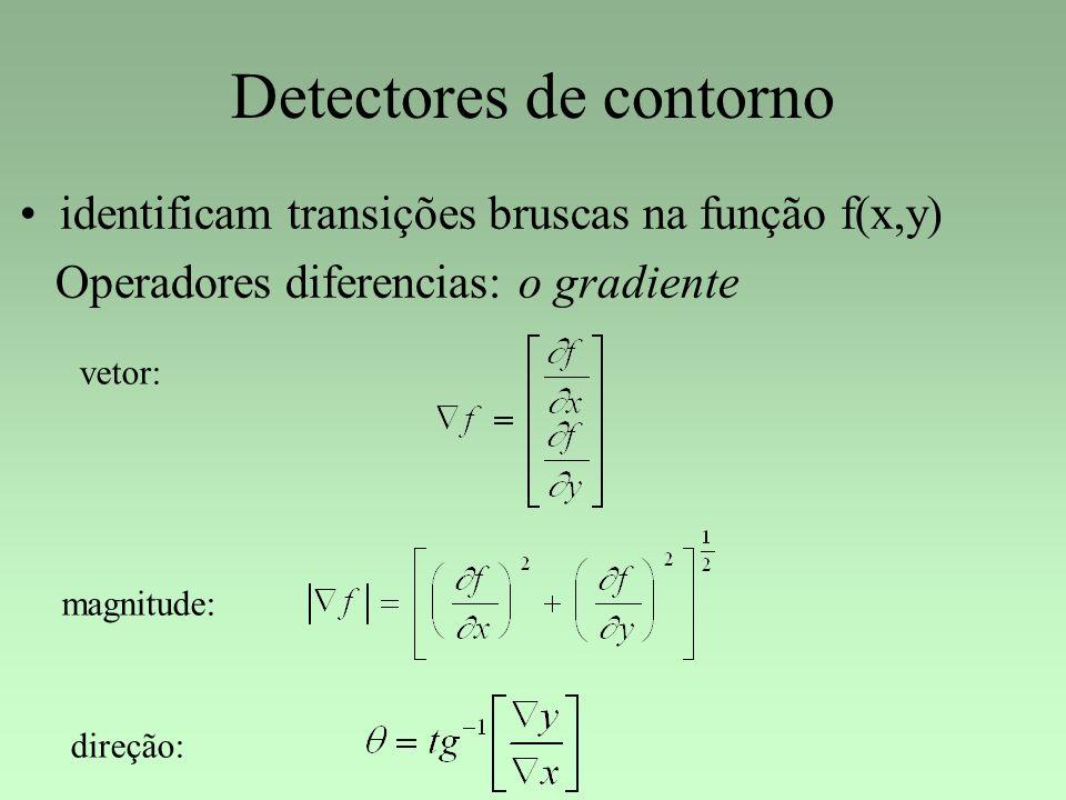 Detectores de contorno identificam transições bruscas na função f(x,y) Operadores diferencias: o gradiente vetor: magnitude: direção:
