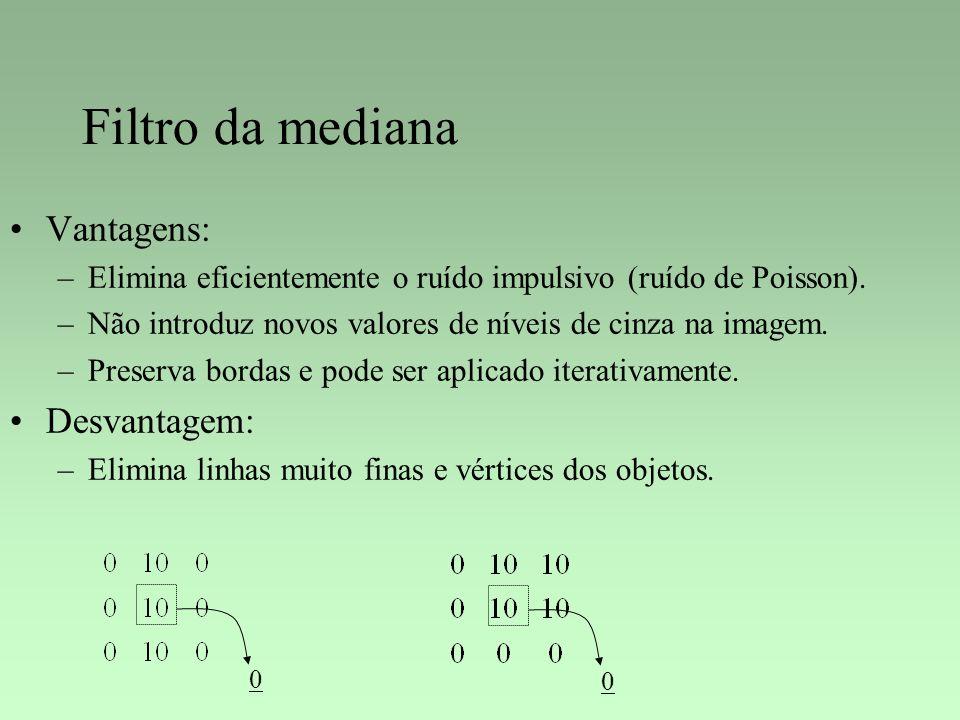 Filtro da mediana Vantagens: –Elimina eficientemente o ruído impulsivo (ruído de Poisson). –Não introduz novos valores de níveis de cinza na imagem. –