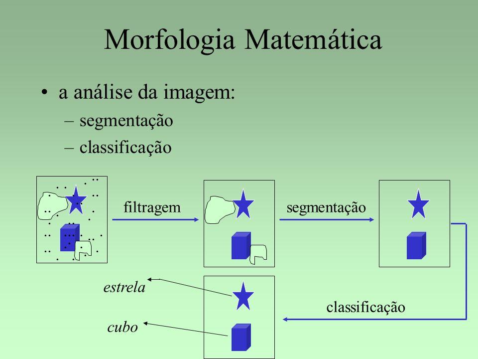 Morfologia Matemática a análise da imagem: –segmentação –classificação.............................. filtragemsegmentação classificação estrela cubo