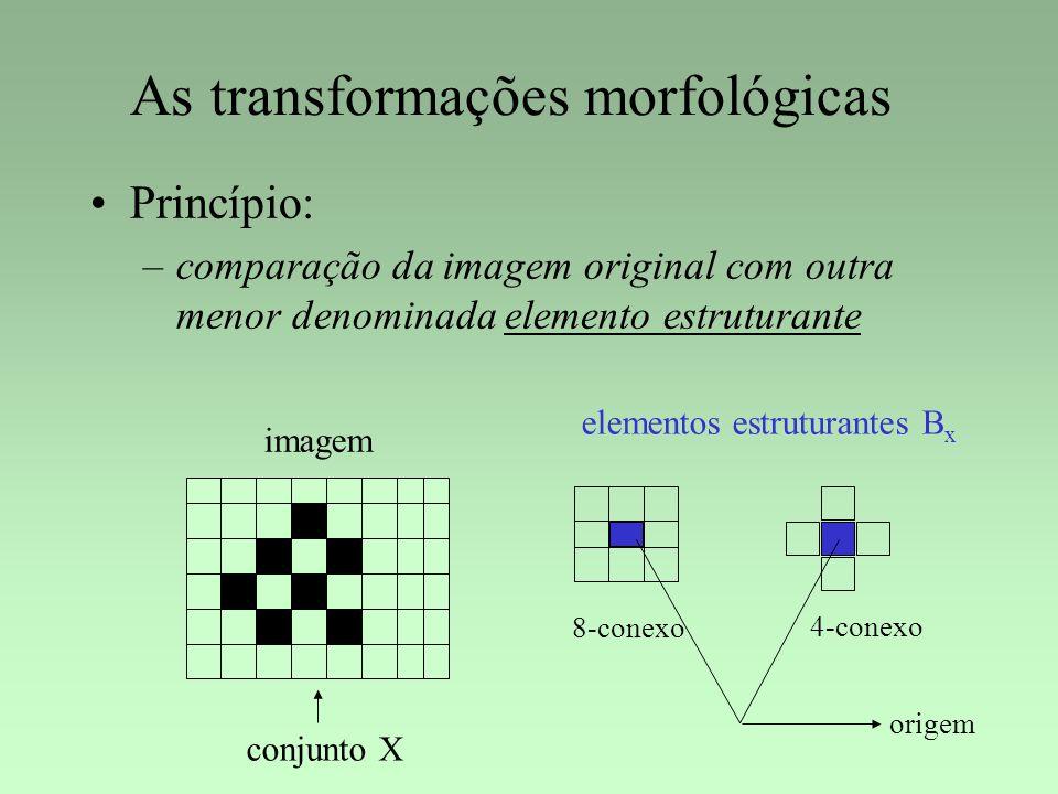 As transformações morfológicas Princípio: –comparação da imagem original com outra menor denominada elemento estruturante imagem origem elementos estr