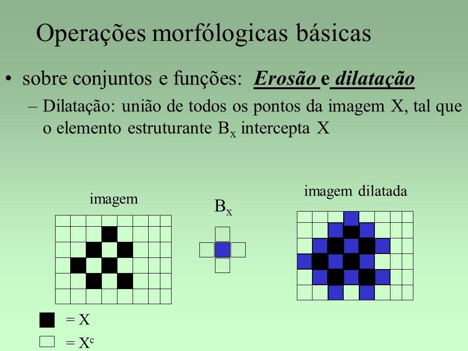 Operações morfólogicas básicas sobre conjuntos e funções: Erosão e dilatação –Dilatação: união de todos os pontos da imagem X, tal que o elemento estr