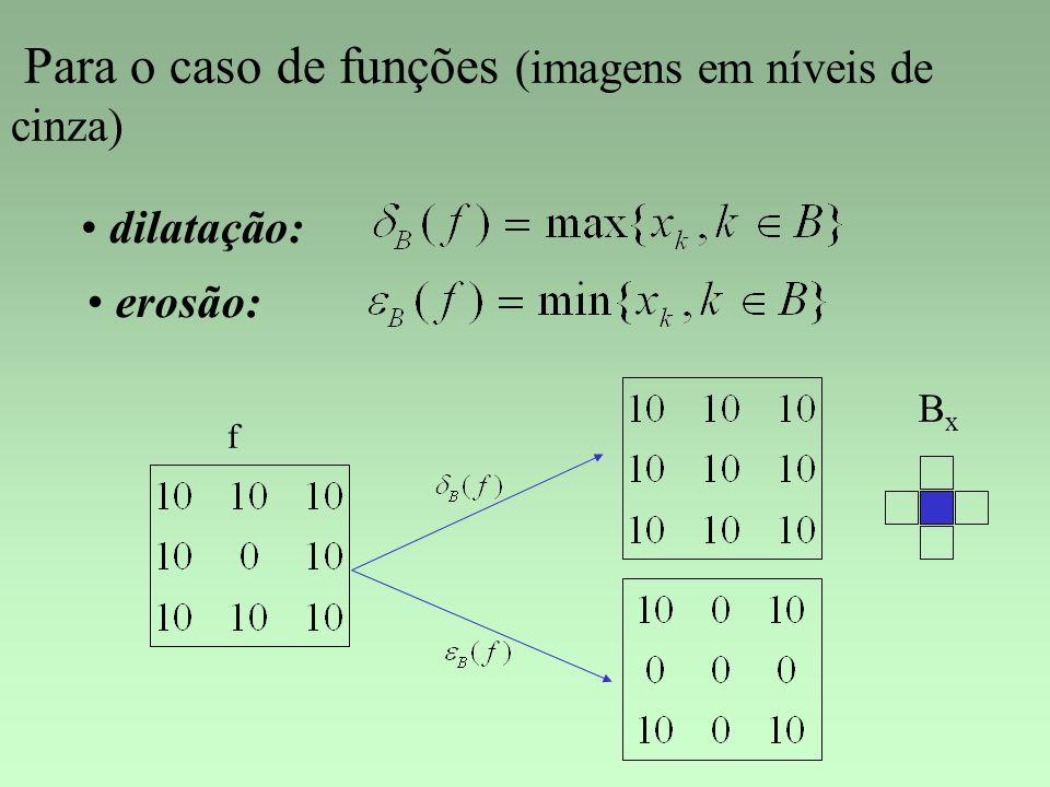 Para o caso de funções (imagens em níveis de cinza) dilatação: erosão: BxBx f