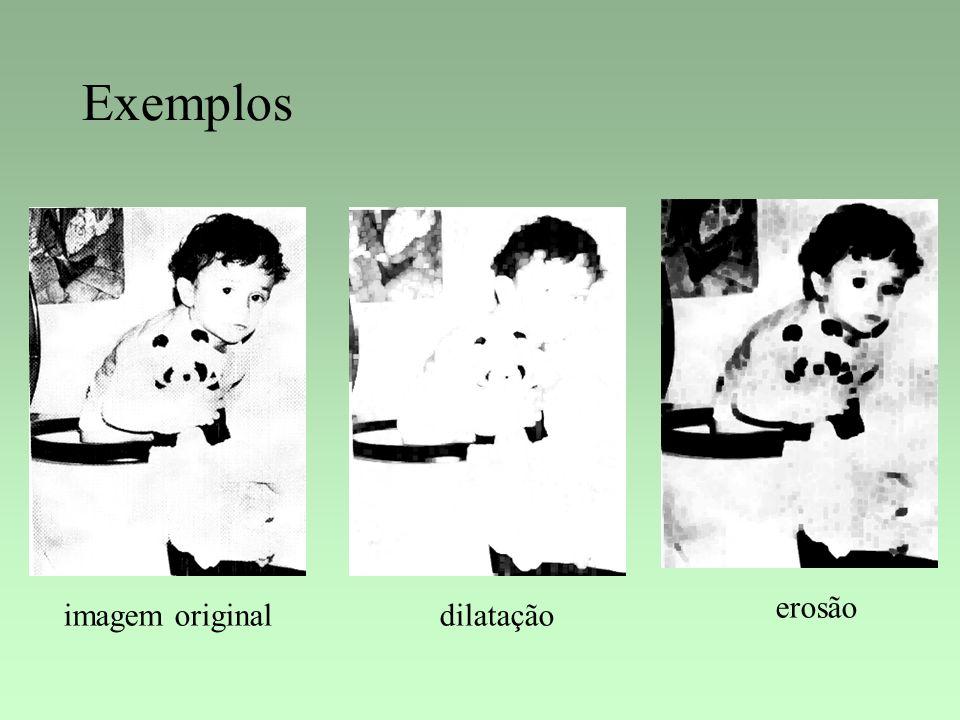 Exemplos imagem originaldilatação erosão
