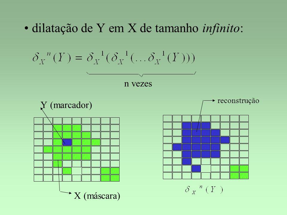 dilatação de Y em X de tamanho infinito: n vezes X Y (máscara) (marcador) reconstrução