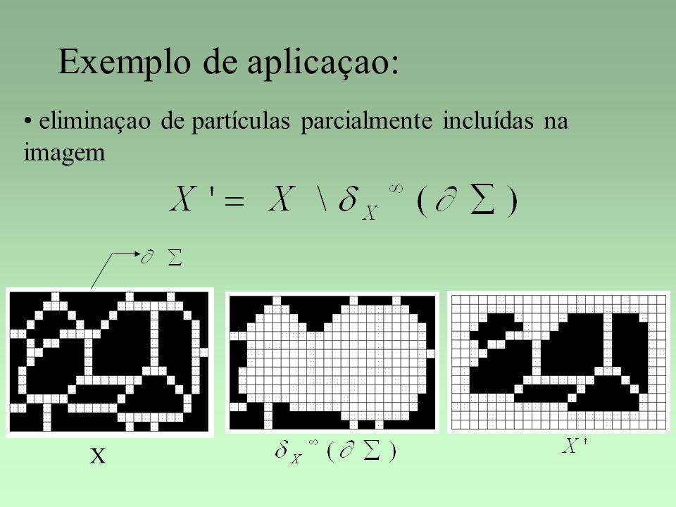 Exemplo de aplicaçao: eliminaçao de partículas parcialmente incluídas na imagem X