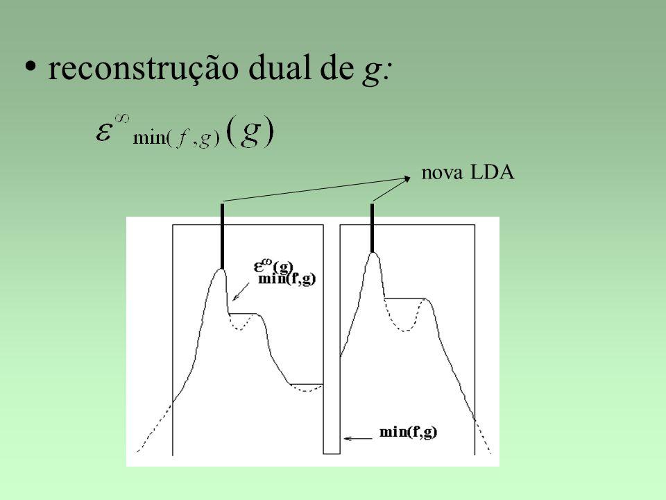 reconstrução dual de g: nova LDA
