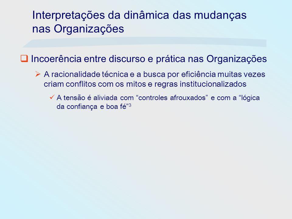 Interpretações da dinâmica das mudanças nas Organizações Incoerência entre discurso e prática nas Organizações A racionalidade técnica e a busca por e