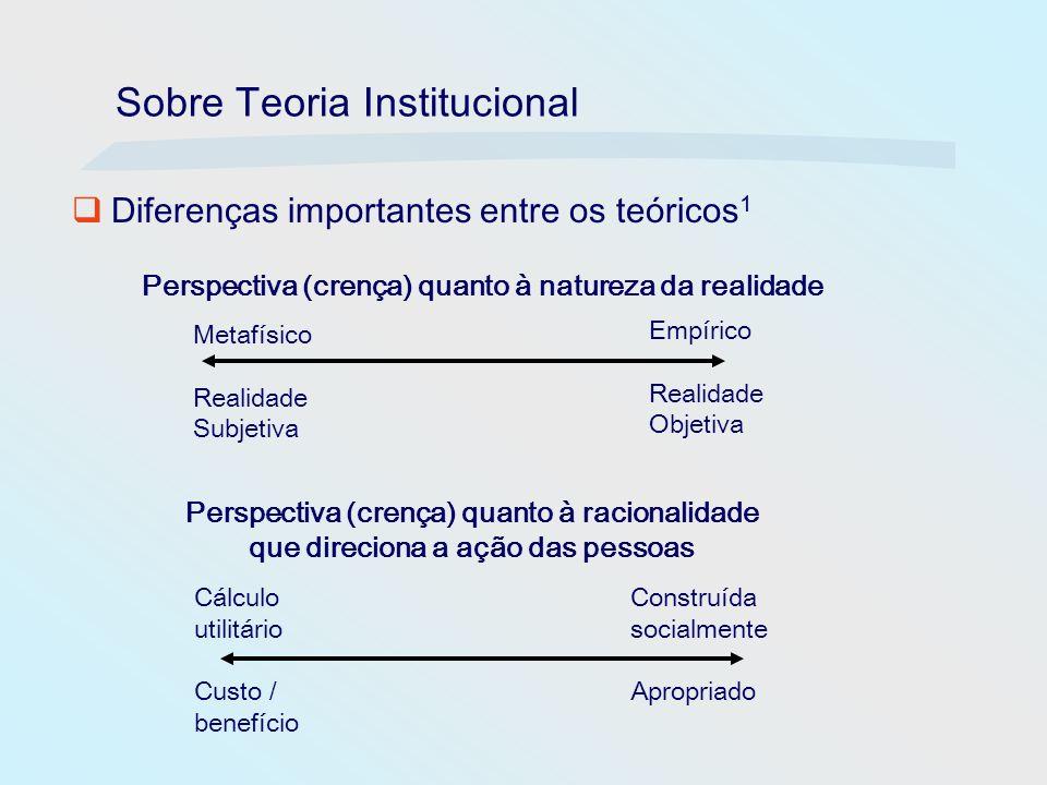 Sobre Teoria Institucional Diferenças importantes entre os teóricos 1 Metafísico Realidade Subjetiva Empírico Realidade Objetiva Perspectiva (crença)