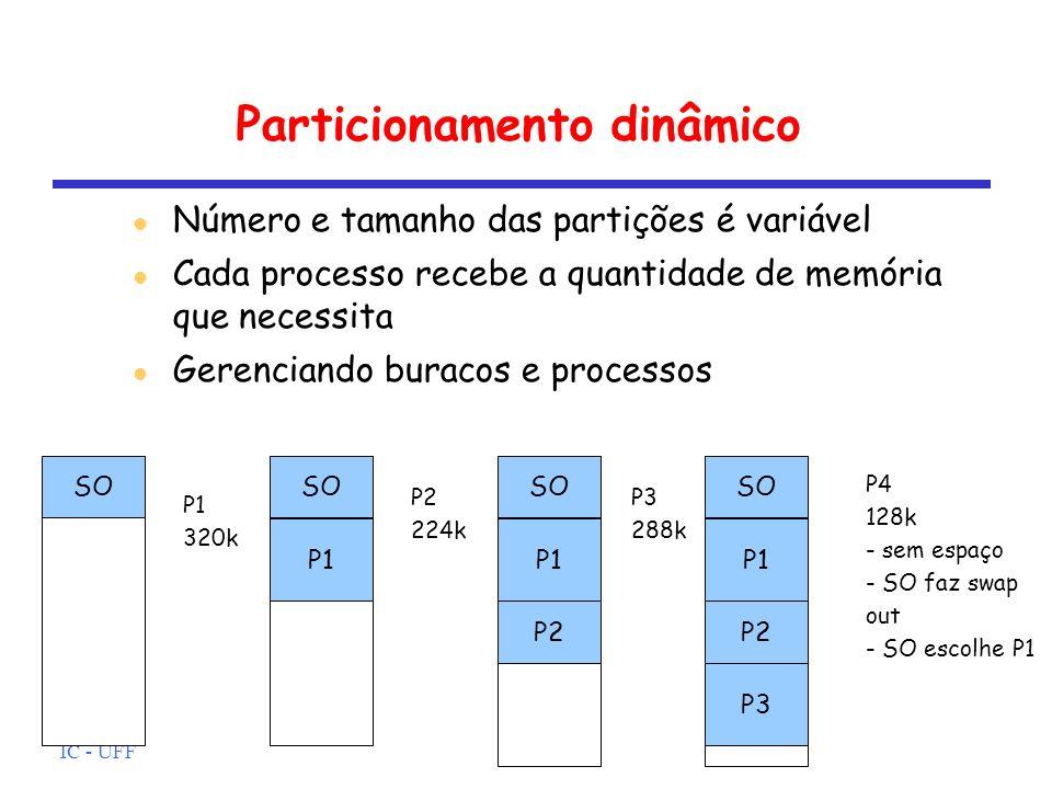 IC - UFF Particionamento dinâmico Número e tamanho das partições é variável Cada processo recebe a quantidade de memória que necessita Gerenciando bur