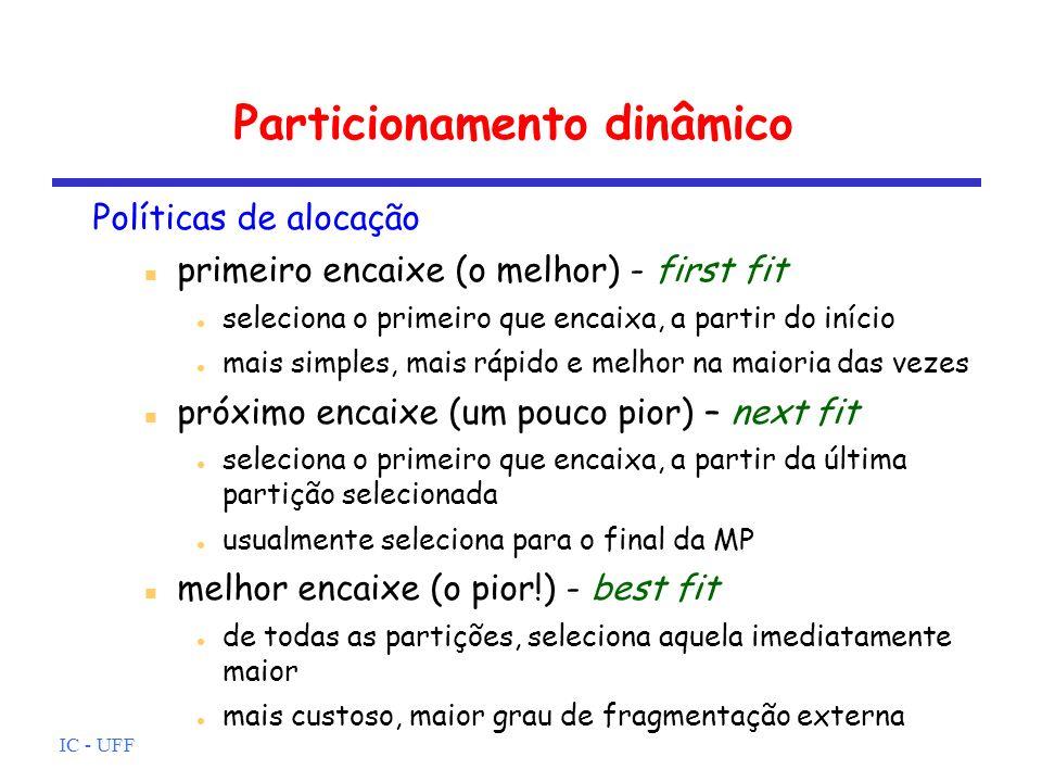 IC - UFF Particionamento dinâmico Políticas de alocação primeiro encaixe (o melhor) - first fit seleciona o primeiro que encaixa, a partir do início m