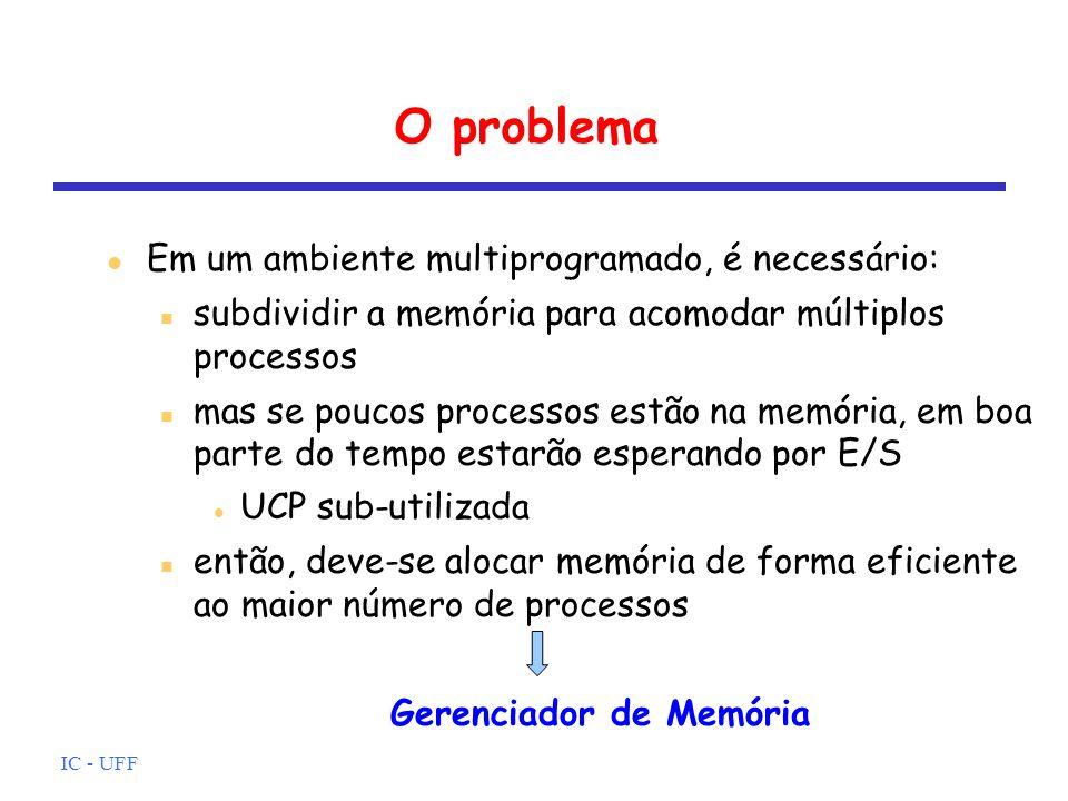 IC - UFF O problema Em um ambiente multiprogramado, é necessário: subdividir a memória para acomodar múltiplos processos mas se poucos processos estão
