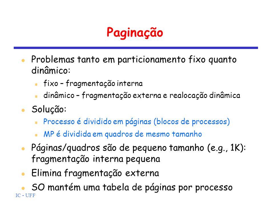 IC - UFF Paginação Problemas tanto em particionamento fixo quanto dinâmico: fixo – fragmentação interna dinâmico – fragmentação externa e realocação d
