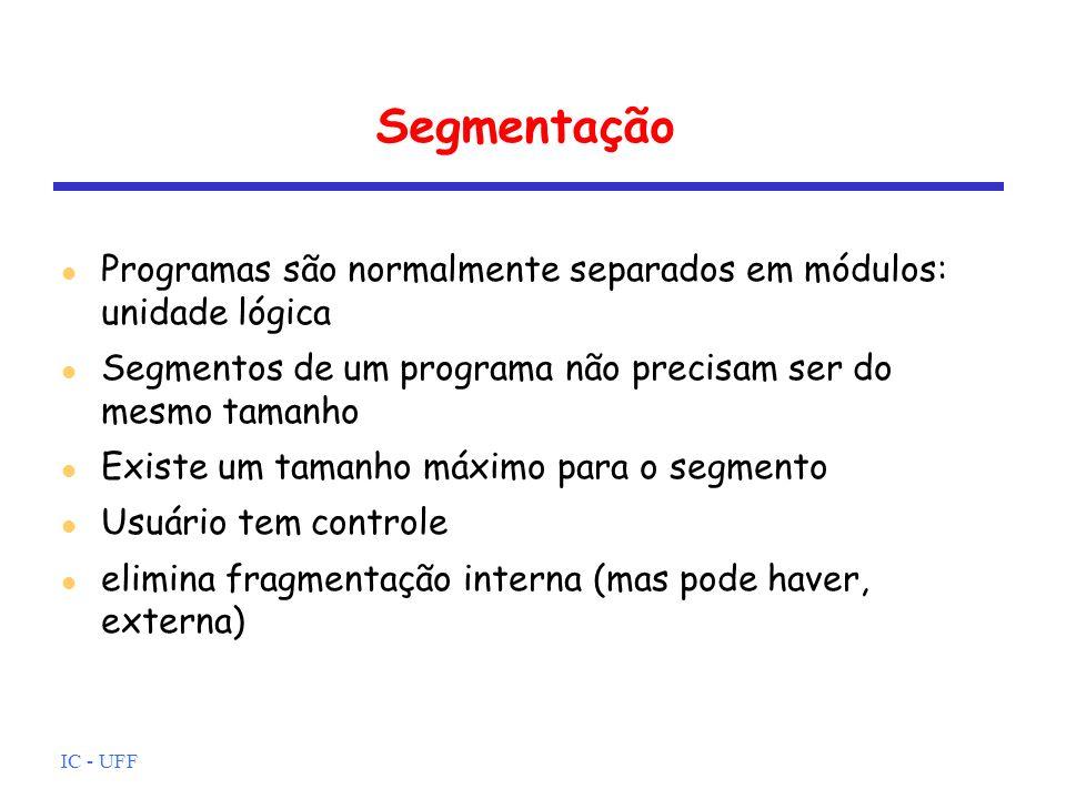 IC - UFF Segmentação Programas são normalmente separados em módulos: unidade lógica Segmentos de um programa não precisam ser do mesmo tamanho Existe
