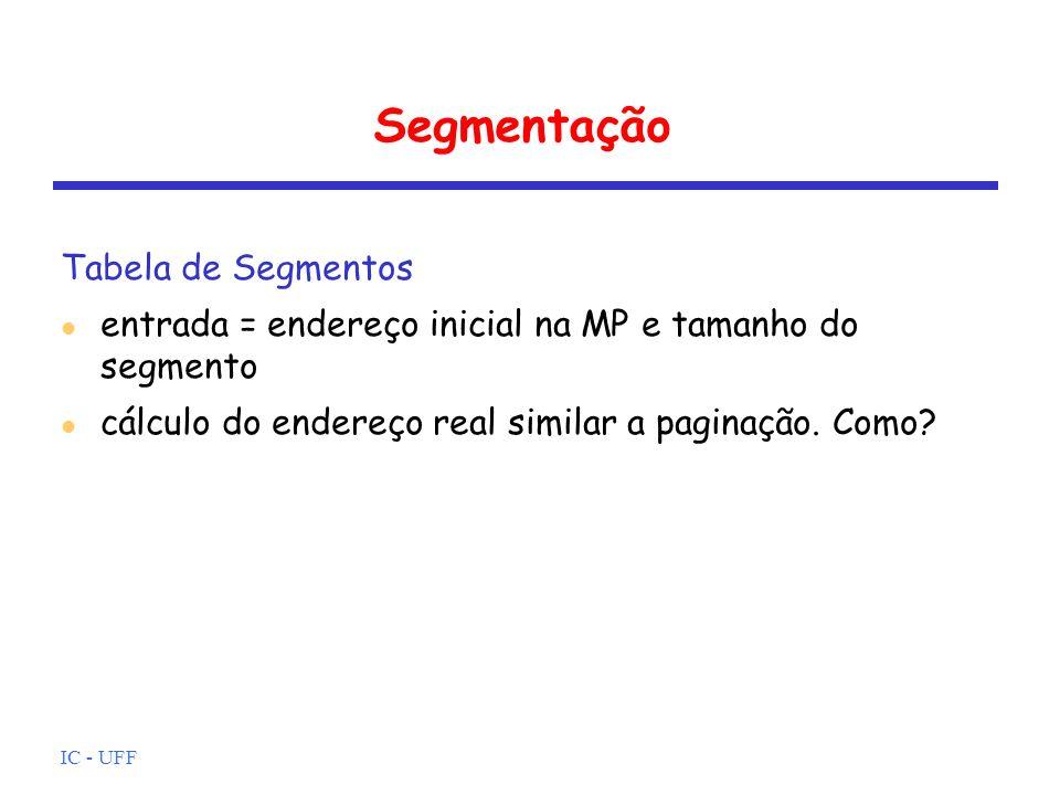 IC - UFF Segmentação Tabela de Segmentos entrada = endereço inicial na MP e tamanho do segmento cálculo do endereço real similar a paginação. Como?