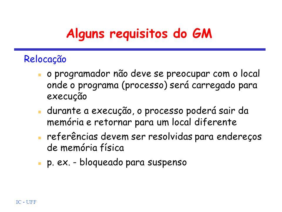 IC - UFF Alguns requisitos do GM Proteção processos não devem poder referenciar posições de memória em outros processos sem permissão em virtude da relocação, não é possível testar endereços em programas com suporte de h/w, o teste deverá ser em tempo de execução