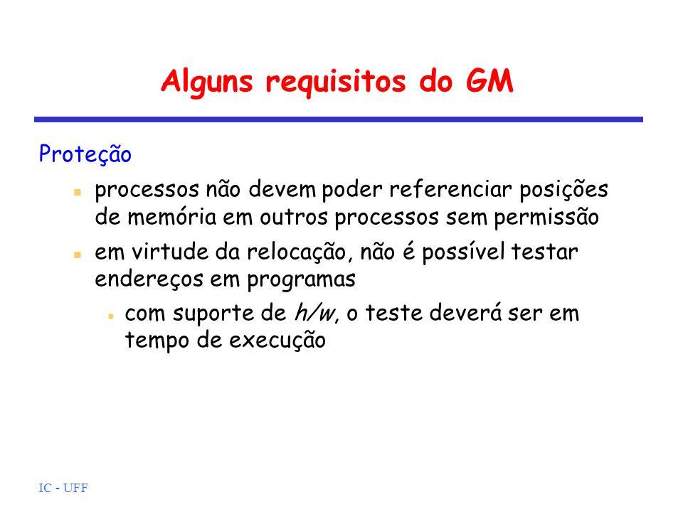IC - UFF Alguns requisitos do GM Compartilhamento deve-se permitir que vários processos possam acessar a mesma porção de memória o mecanismo de proteção deve ter flexibilidade caso por exemplo, exclusão mútua