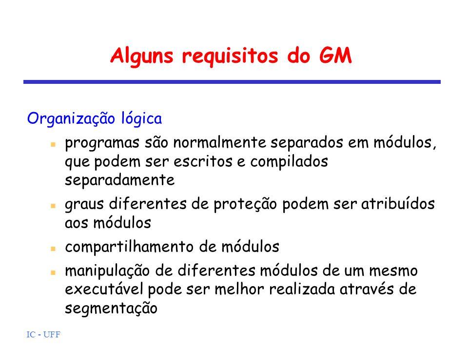 IC - UFF Alguns requisitos do GM Organização física memória é organizada como uma hierarquia se um programa precisa de mais memória do que o disponível na MP, a MS deverá ser utilizada uso de memória cache este gerenciamento deverá ser feito de forma transparente pelo SO