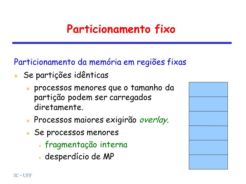 IC - UFF Realocação Mapeamento eficiente endereço físico só calculado quando acesso a MP endereços definidos: lógico, relativo, físico Registradores: base – armazena o endereço inicial de MP do processo (quando o processo passa para executando) limite – armazena endereço final do processo Acesso ao endereço Z no programa if (Z + base <= limite) acesse Z+base senão trap