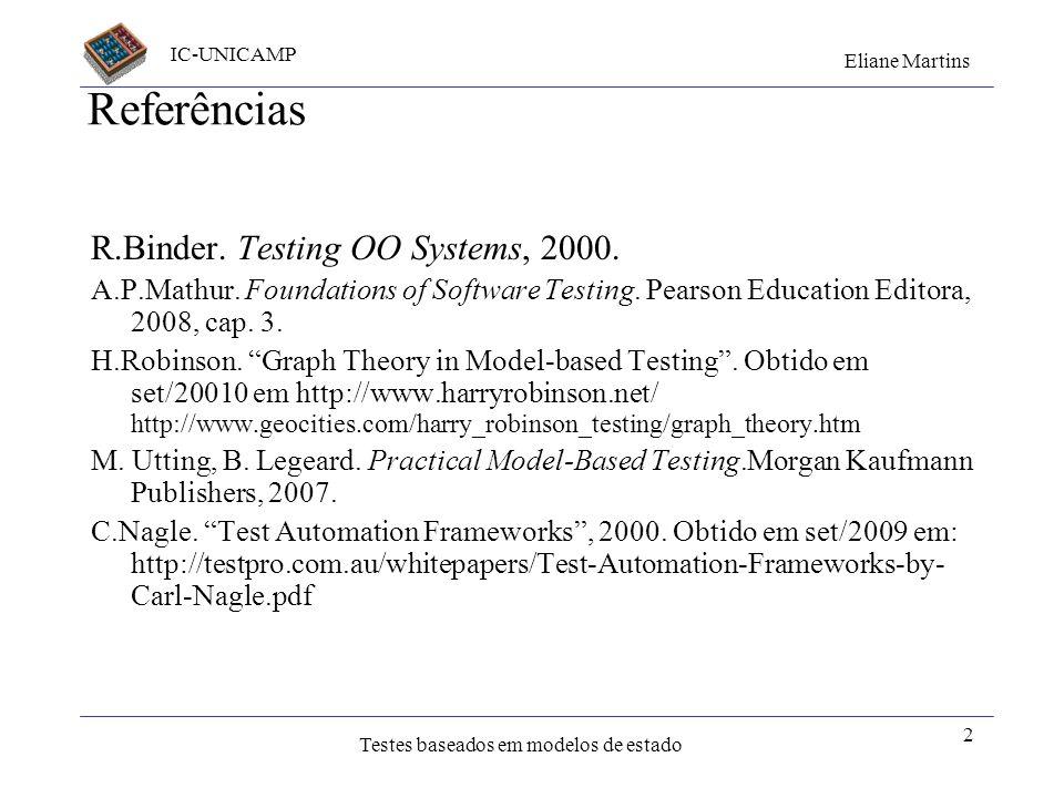 IC-UNICAMP Eliane Martins Testes baseados em modelos de estado Criado: abril 2001 Últ. atualiz.: out / 2011 Testes baseados na especificação - modelos