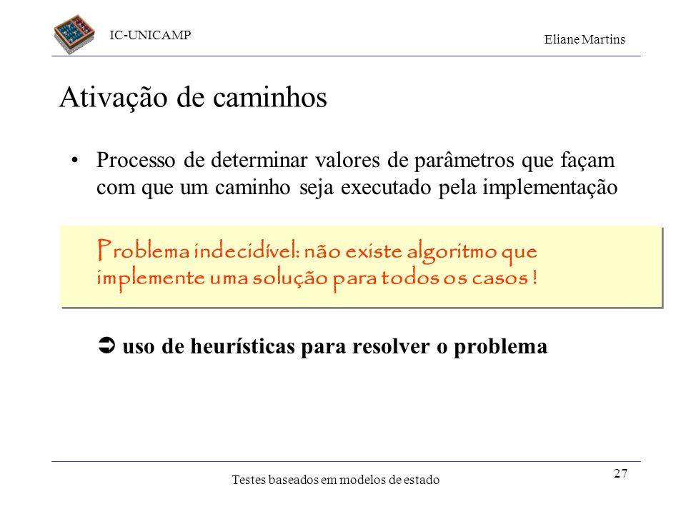 IC-UNICAMP Eliane Martins Testes baseados em modelos de estado a b c X(nb) nro = 0; Y P(nro); nro = nro + 1; W [nro == nb] Q; W [nro < nb] R(nb); Qual