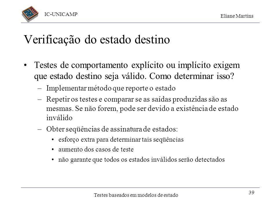 IC-UNICAMP Eliane Martins Testes baseados em modelos de estado 38 Estadodestino /Resposta EventoGuarda Conj VazioConj não Vazio IntSetConj Vazio66 Ext